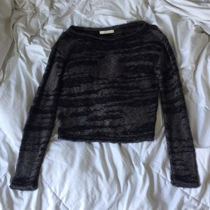 Aquamar Sweaters - Aquamar Black and Gray Knit Cropped Sweater